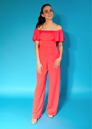 Goddiva Vicky Pattison Coral Frill Off-the-Shoulder Jumpsuit