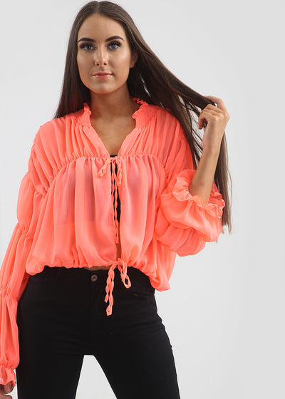 Coral Romance Frill Sleeves Top