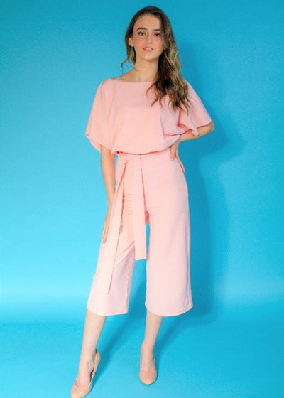 Pink Batwing Belted Cullotte Jumpsuit