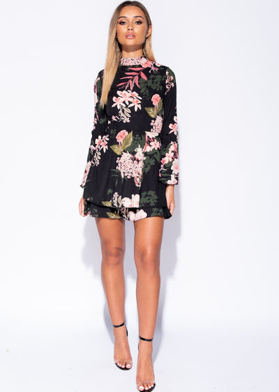 Flare Sleeve Floral Frill Dress