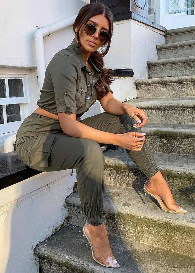 Khaki Utility Two Piece Set