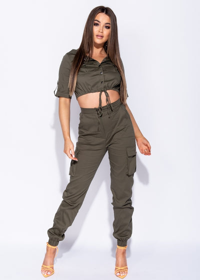 Khaki Belted Utility Cargo Trousers and Crop Top