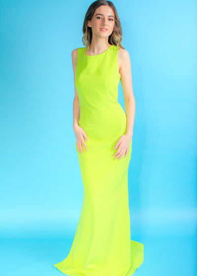 Goddiva Vicky Pattison Lime Bow Back Maxi Dress
