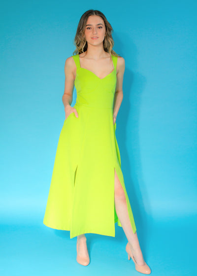 Goddiva Vicky Pattison Lime Pockets Midi Dress