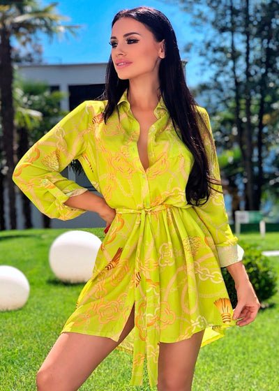 Lime Scarf Print Shirt Dress