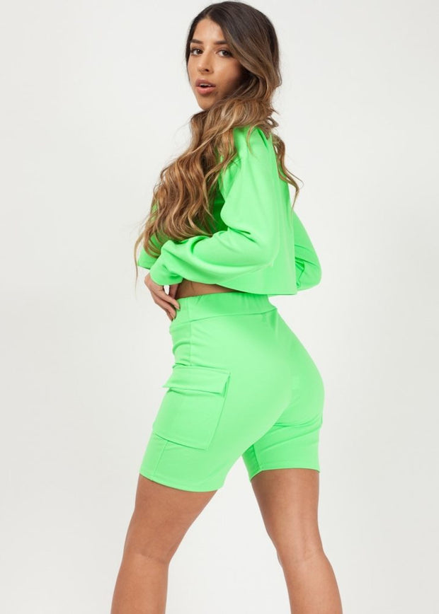 Neon Green Crop Top and Pocket Shorts