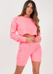Neon Pink Crop Top and Pocket Shorts