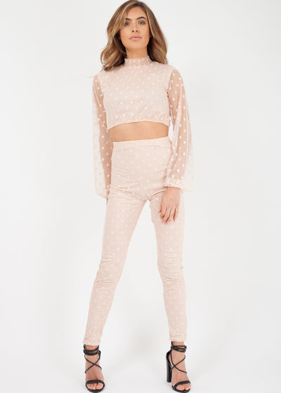 Nude Chiffon Two Piece Set Trousers and Crop Top