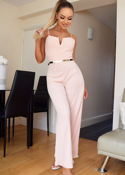 Nude Belted Jumpsuit