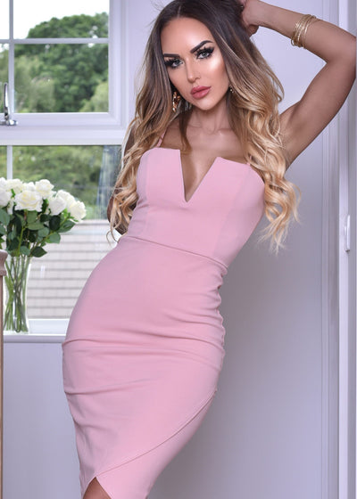 V Bar Wrap Dress in Pink, Jade or Black