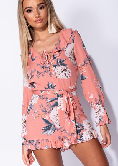 Peach Floral Frill Playsuit