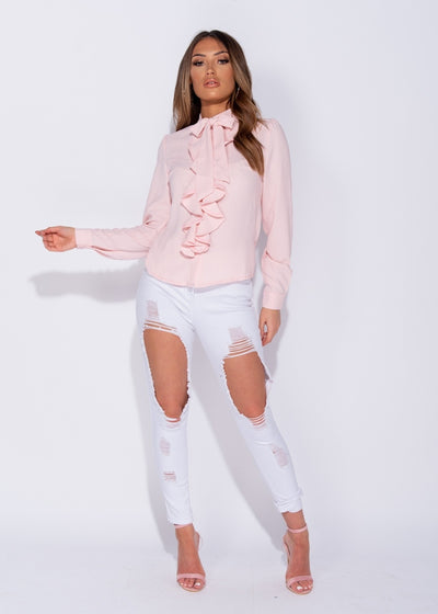Ruffle Detail Pussy Bow Blouse