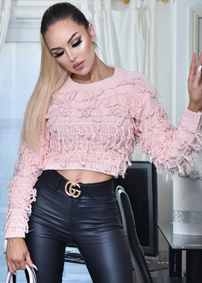 Pink Knitted Tassel Cropped Jumper