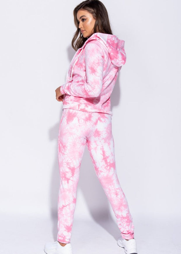 Pink Tie Dye Hooded Zip Front Lounge Set
