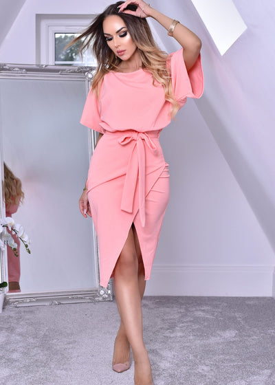 Wrap Front Batwing Dress