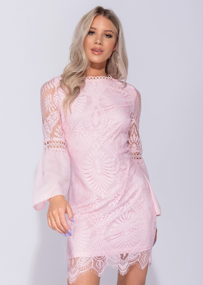 Eyelash Trim Lace Mini Dress