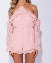 Dotty Frill Cold Shoulder Playsuit