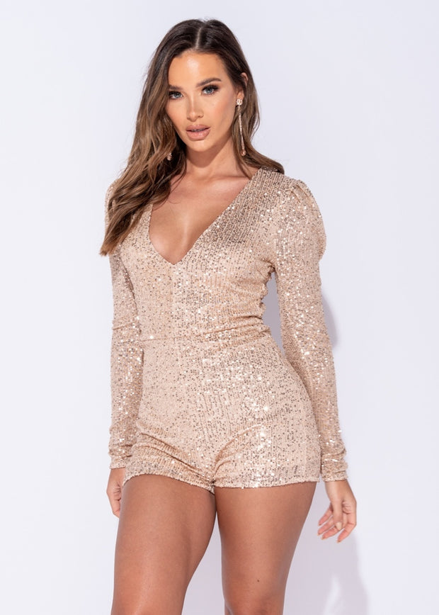 Champagne Sequin Long Sleeved Playsuit