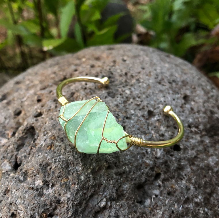 Green Fluorite Gold Bangle Cuff Bracelet