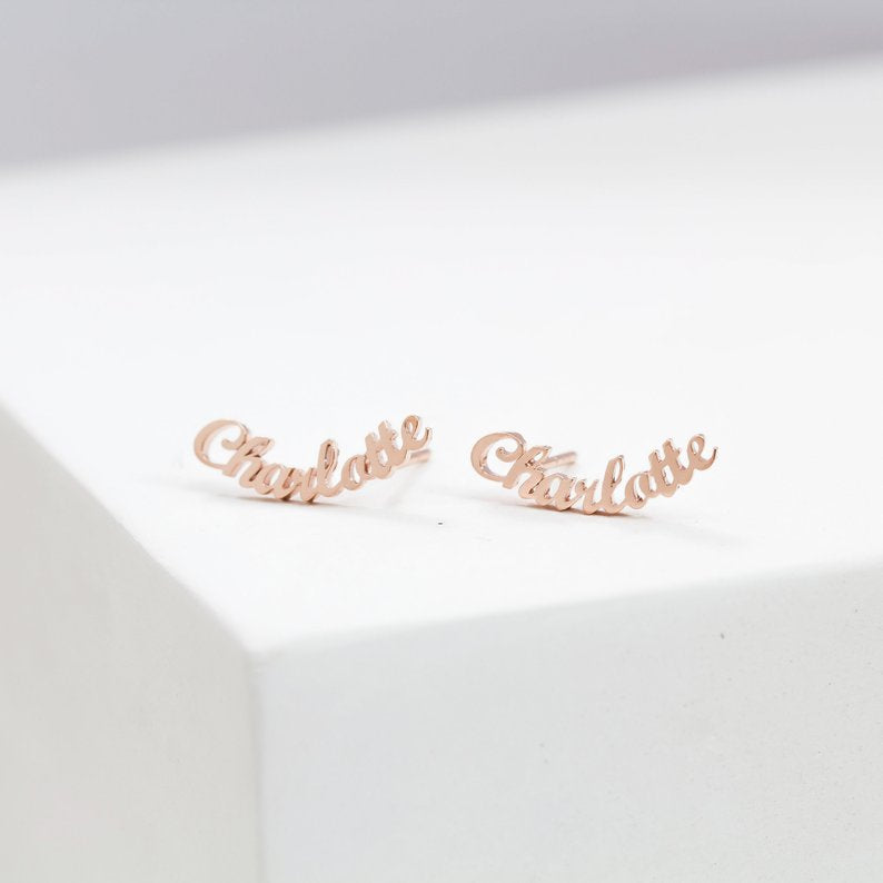 Personalized Name Earrings Personalized Name Earrings - dailypersonalized.comdailypersonalized.com 18K Rose Gold Plated / 1 Name (1 Pair)