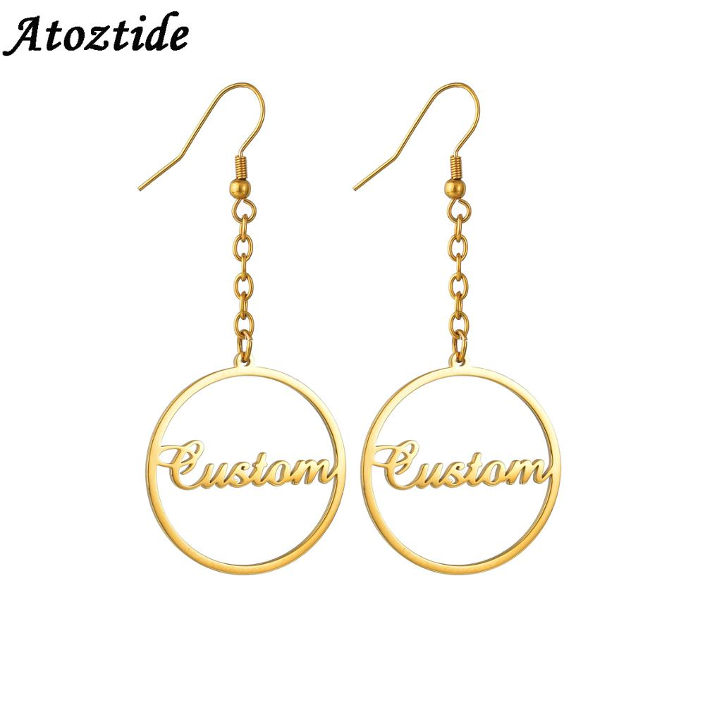 Personalized Wire Circle Name Earrings