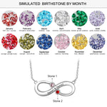 Personalized Infinity 2 Birthstones Necklace