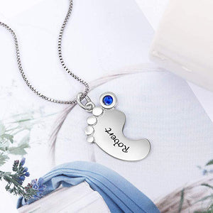 Silver Baby Foot Pendant Necklace with Birthstone & Name