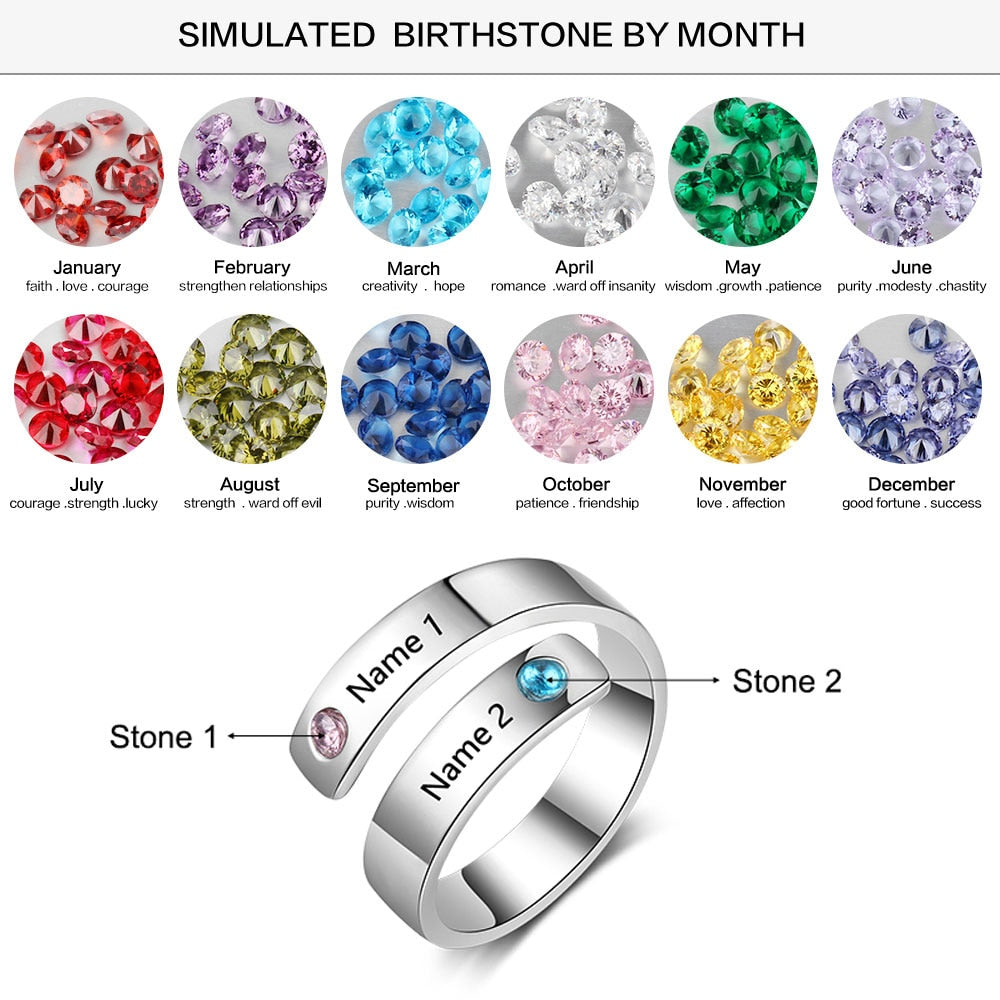 Personalized Ring 2 Birthstone