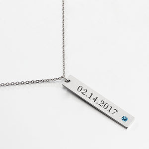 Vertical Bar Necklace Name Tag Silver with Birthstone