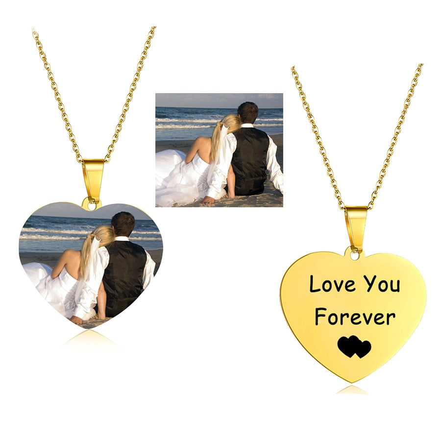Personalized Charm Photo Necklaces Personalized Charm Photo Necklaces - dailypersonalized.comAMORUI Jewelrys Store Rose Gold Plated Love / 40 Cm