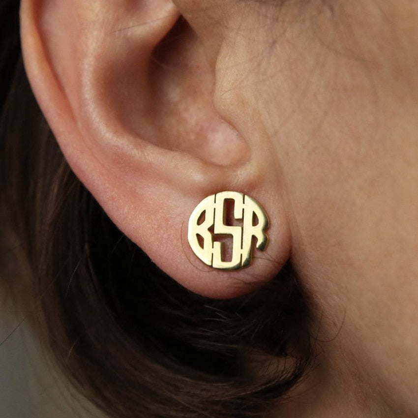 Personalized Initial Monogram Earrings Personalized Initial Monogram Earrings - dailypersonalized.comCAVSUAT Store 18K Gold Plated