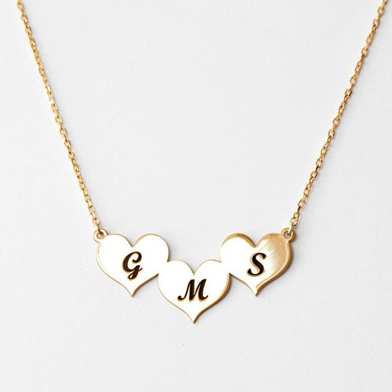 Personalized Three Heart Necklace Personalized Three Heart Necklace - dailypersonalized.comFJF Store