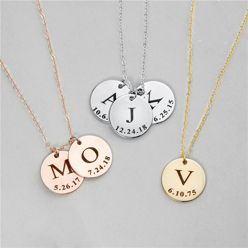 Engraved Disc Necklaces Engraved Disc Necklaces - dailypersonalized.comZSE Online Store 1 Disc / 925 Silver Plated