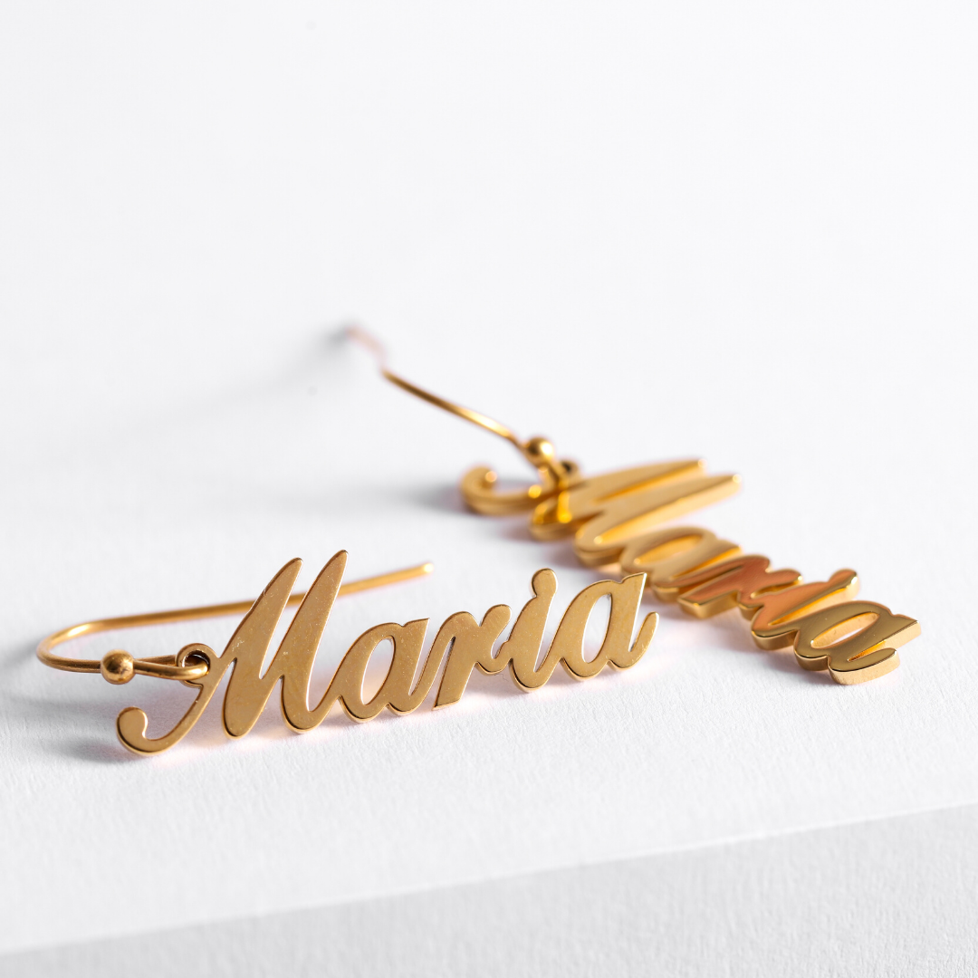 Personalized Firlum Name Earrings Personalized Firlum Name Earrings - dailypersonalized.comIcftZwe Store 18K Gold Plated / 1 Name (1 Pair)