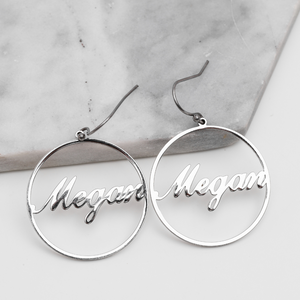 Personalized Circuli Name Earrings Personalized Circuli Name Earrings - dailypersonalized.comAOY Store 925 Silver Plated