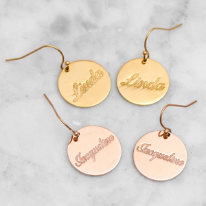 Personalized Engraved Name Earring Personalized Engraved Name Earring - dailypersonalized.comIcftZwe Store 18K Gold Plated / 1 Name (1 Pair)