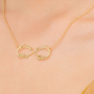 "Personalized Infinity Name Necklace Personalized Infinity Name Necklace - dailypersonalized.comdailypersonalized.com 18K Gold Plated / One Name / 17"" (43cm) - Young Adult"