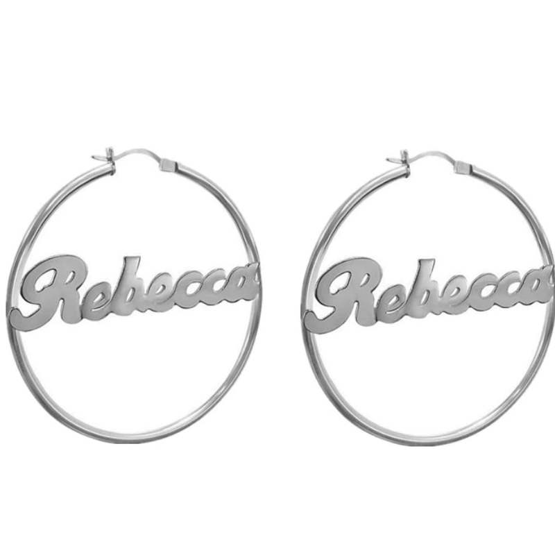 Personalized Hoops Name Earrings Personalized Hoops Name Earrings - dailypersonalized.comCAVSUAT Store 925 Silver Plated / Size 50mm