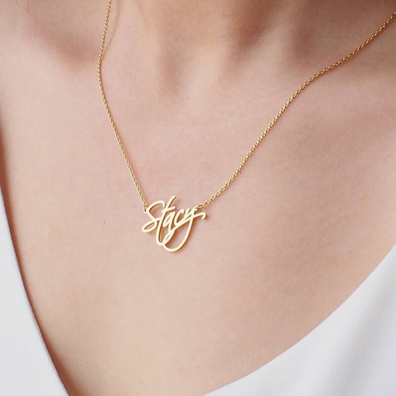 Personalized Script Name Necklaces Personalized Script Name Necklaces - dailypersonalized.comCAVSUAT Store 18K Gold Plated / 45cm