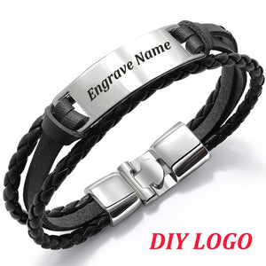 Personalized Leather Bracelet Personalized Leather Bracelet - dailypersonalized.comdailypersonalized.com Black