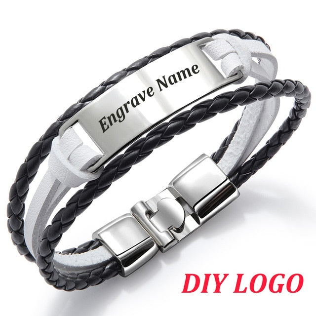 Personalized Leather Bracelet Personalized Leather Bracelet - dailypersonalized.comdailypersonalized.com Black & White