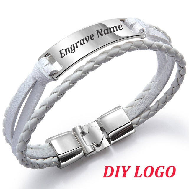 Personalized Leather Bracelet Personalized Leather Bracelet - dailypersonalized.comdailypersonalized.com White