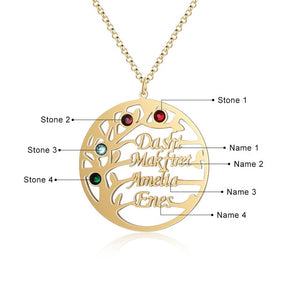 "Family Tree Name Necklace Family Tree Name Necklace - dailypersonalized.comJewelOra 18K Gold Plated / 18"" (45cm) - Adult / Two Name"