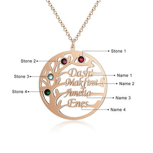 "Family Tree Name Necklace Family Tree Name Necklace - dailypersonalized.comJewelOra 18K Rose Gold Plated / 18"" (45cm) - Adult / Two Name"