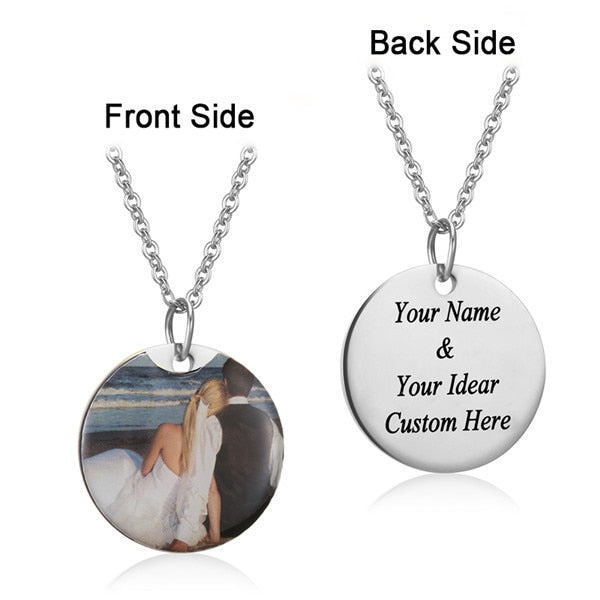 Personalized Charm Photo Necklaces Personalized Charm Photo Necklaces - dailypersonalized.comAMORUI Jewelrys Store Silver Plated Round / 40 Cm