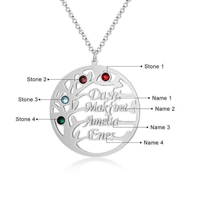 "Family Tree Name Necklace Family Tree Name Necklace - dailypersonalized.comJewelOra 925 Silver Plated / 18"" (45cm) - Adult / Two Name"