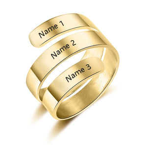Personalized Adjustable 3 Name Rings Personalized Adjustable 3 Name Rings - dailypersonalized.comJewelOra Resizable / 18K Gold Plated