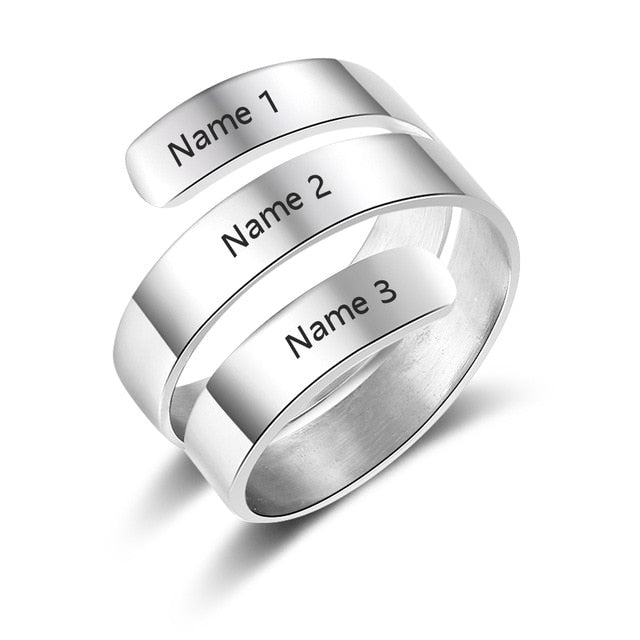 Personalized Adjustable 3 Name Rings Personalized Adjustable 3 Name Rings - dailypersonalized.comJewelOra Resizable / 925 Silver Plated