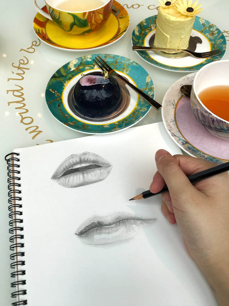 L'oeil Loeil art blog sketching pencil artist lips drawing different angle front view side how to draw drawing pencil black