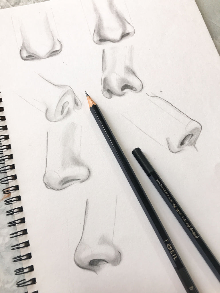 Drawing a realistic nose in different angles